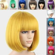 US Women's Sexy Full Bangs Wig Short Wig Straight BOB Hair Cosplay Fancy Party