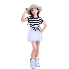 NABER Girls Lovely Summer Bowknot Striped Splice Tulle Dress Size 4-13 Years