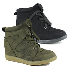 WOMENS LADIES HIDDEN WEDGE HEEL LACE UP HI TOP SNEAKERS TRAINERS SHOES SIZE 3-8