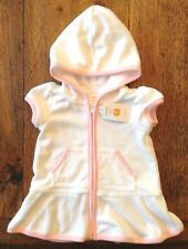 NWT Gymboree 3-6 Months Hooded Terry Swim Beach Cover-Up Pink White Zip Girls