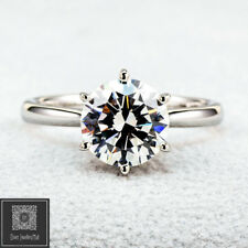 9ct Real Solid White Gold 2.0ct Solitaire lab Diamond Engagement Wedding Ring