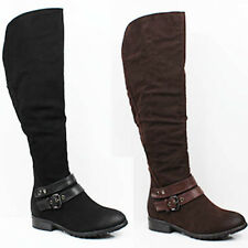WOMENS CASUAL LOW HEEL ZIP UP KNEE HIGH RIDING BOOTS LADIES SHOES NEW SIZE 3-8