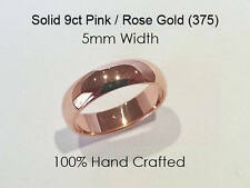 9ct 375 Solid Pink/Rose Gold Ring Wedding Engage Friendship Half Round Band 5mm