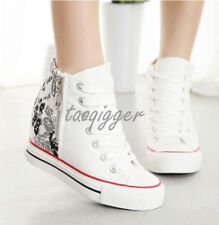 Womens Athletic Fashion Sneakers Wedge Inside Lace-up High Top Canvas Shoes Size