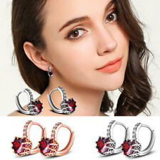 1 Pair Women's Love Heart Pendant Zirconia Inlaid Ear Stud Earrings Wedding Gift
