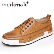 Merkmak Handmade Men Shoes Brand Casual Shoes Solid Lace-up Retro Breathable Sho