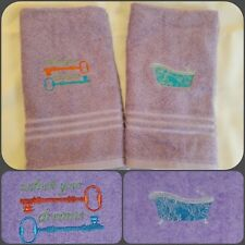 Personalized Monogrammed Purple Hand Towels Set of 2 ** Great Gift Idea