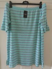 NEXT Blue Striped Ladies Off The Shoulder Tunic Top Plus Size 20 22 BNWT