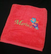 Personalized Embrodered Bath or Hand Towel,  HAWAIIAN FLOWER  *SUMMER GIFT IDEA