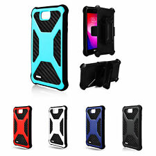 LG Fiesta 2 Case, Fiesta LTE Cases, Rugged Carbon Fiber Holster Combo Clip Cover
