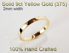 9ct 375 Solid Yellow Gold Ring Wedding Engagement Friendship Flat Band 2mm