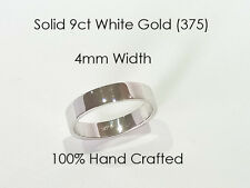 9ct 375 Solid White Gold Ring Wedding Engagement Friendship Flat Band 4mm