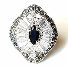 (SIZE 6,7) Marquise Black ONYX CZ Cocktail RING Marcasite .925 STERLING SILVER