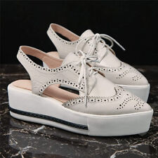 Women Cow Leather Brogue Oxfords Platform Flats Sport Sandals Fashion Sneakers