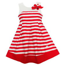 New Girls Dress Red Striped Bow Sundress Party Pageant Princess Children Clothes