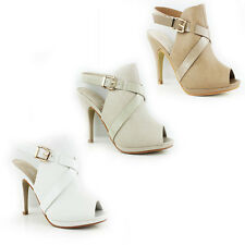 WOMENS PEEP TOE HIGH STILETTO HEEL ANKLE COURT SHOES LADIES SANDALS NEW SIZE 3-8