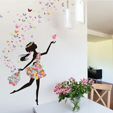 Home Bedroom Wall Sticker Removable PVC Flower Girls Wall Decals Art Stickers BE