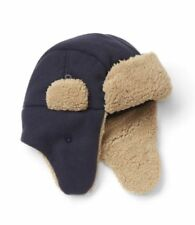 S M 6 7 8 GAP KIDS Navy Blue Fleece Trapper Hat Sherpa Ear Flaps Boy NWT