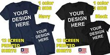 12 Custom Screen Printed T shirts Two Side One Color -New States Apparel
