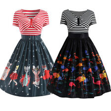 Ladies Retro Vintage 50's Rockabilly Swing Summer Party Pin Up Prom Cats Dress