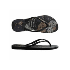 Womens  Havaianas Slim Metal Logo Thong Bloom (Blossom) Black/Black Sandals