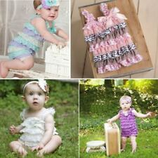 Newborn Baby Infant Girls Lace Posh Petti Ruffle Rompers TUTU 0-3Y Baby Jumpsuit