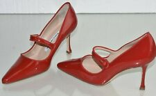 $735 NEW MANOLO BLAHNIK Campari 90 Mary Jane RED Patent Leather SHOES 35 35.5