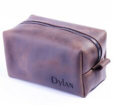 Toiletry Bag Leather Travel Organizer Free Engraved Accessory Shaving Men