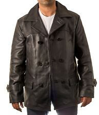 Men's Dr Who Black Military Double Breast U-boat Cowhide Leather Peacoat jacket