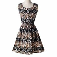 Women Chiffon Sleeveless Short Dress Printed Dress Elastic High Waist Dress BS