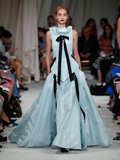 $7890 New Oscar de la Renta Silk Taffeta Gown Black Ribbon Bow Blue Aqua Green 6