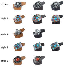 Fashion Mens Faux Leather Belt Casual Pattern Waistband Metal Buckle Belts