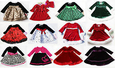 NWT Girls Baby Holiday Long sleeve Dress Xmas Outfit NEW Birthday 12m 18m 24m 2t