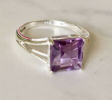 925 Sterling Silver Amethyst Gemstone Ring Square Solitaire Emerald Cut 6.5 - 9