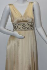 $795 New Marc Bouwer Glamiti Champagne Beige Silk Gown Dress Embellished Gold 2