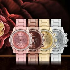 Women's Fashion Geneva Bling Crystal Stainless Steel Analog Quartz Wrist Watch O