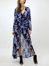 LIONESS Wrap Dress Black Floral Printed Maxi High Low Belted Jacket XSmall NWT