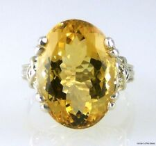 Large Natural Oval Golden Bolivian Citrine Ring 925 SS Sterling Silver 12.05cts