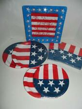 Patriotic Red White Blue Plates Napkins Picnic Party Memorial Day Serves 16-20