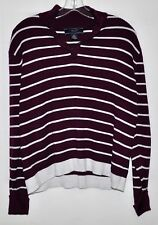 JonesWear Sport Maroon Striped Sweater Sz XLarge EUC
