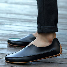 Men Slip On PU Leather Loafer Driving Moccasin Casual Flat Boat Shoes US 5-12.5