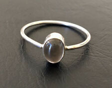925 Sterling Silver Stackable Smokey Quartz Stack Gemstone Ring Cabochon 5 - 11