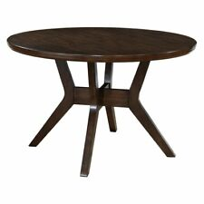 Furniture of America Wellis Mid-Century Modern Round Dining Table, Brown, Small