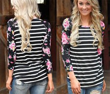 Women 'S Sexy Casual Tops T -Shirt Loose Blouse Cotton Long Sleeve Plus Size W20