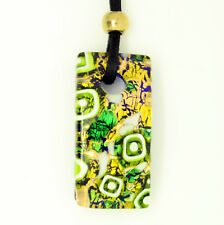 Green and Gold Square Rectangular Murano Glass Venetian Pendant Necklace
