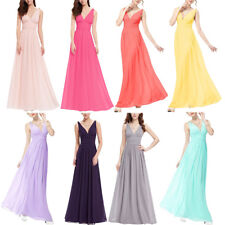 Women's V Neck Pleated Empire Chiffon Long Bridesmaid Evening Party Prom Dress