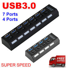 4/7Ports USB 3.0 Hub with On/Off Switch+EU AC Power Adapter for PC Laptop Lot U2