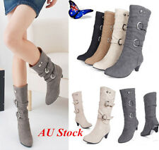 Womens Ladies Low Faux Chunky Low Heel Knee High Faux Suede Wedge Mid Calf Shoes
