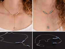 Long Lariat Y Necklace Delicate Opal Silver Gold White Pearl Turquoise Minimal
