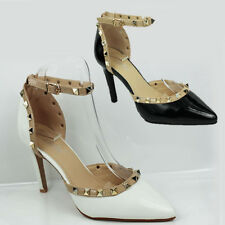 WOMENS STUDDED ANKLE STRAP CUT OUT STILETTO HEEL COURT SHOES SANDALS SIZE 3-8
